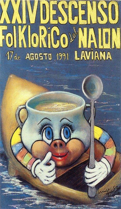 Cartel Descenso del Nalón 1991
