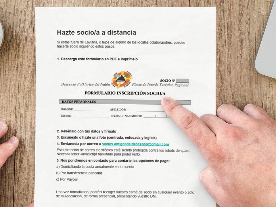 captura de Indicaciones para la inscripción a distancia de socios a la Asociación